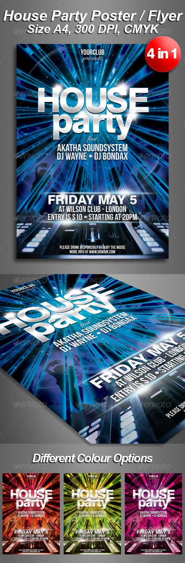 GraphicRiver A4 House Party Club Flyer 4 in 1 4434986
