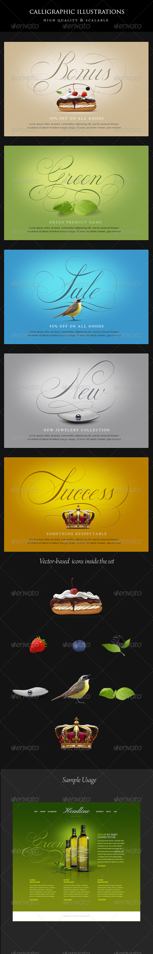 GraphicRiver Vintage Calligraphic Illustrations 4514999