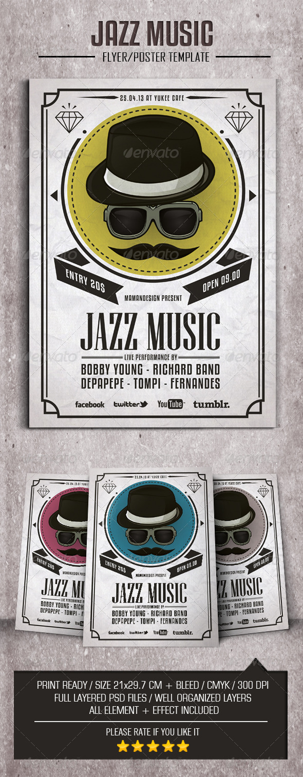 Jazz Music Flyer/Poster - Flyers Print Templates