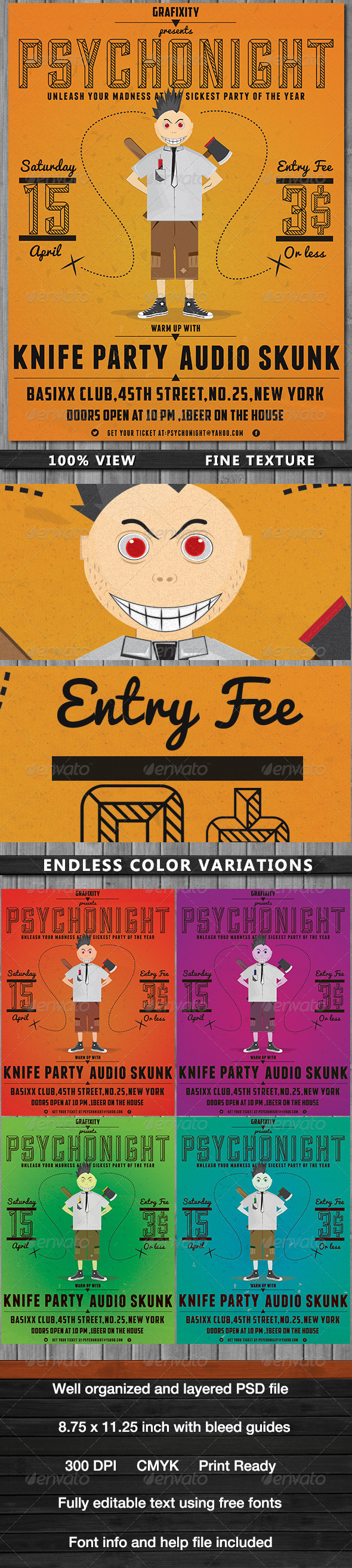 GraphicRiver PsychoNight Vintage Retro Poster 4515944