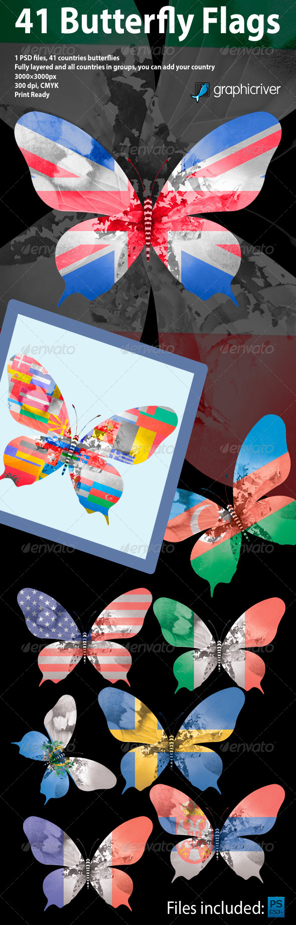 GraphicRiver 41 Butterfly Flags 4516255