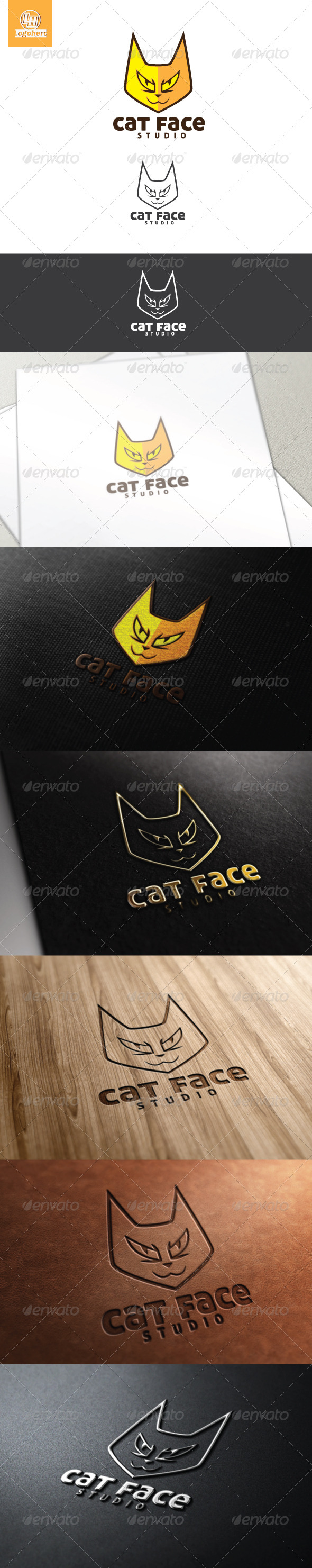 GraphicRiver Cat Face Logo Template 4482875