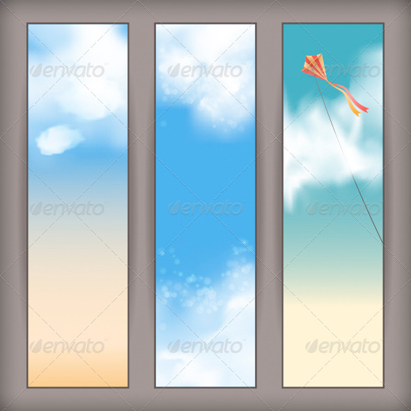 GraphicRiver Sky Banners with White Clouds and Flying Kite 4518116