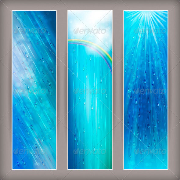 GraphicRiver Blue Rain Banners Abstract Water Background Design 4518238