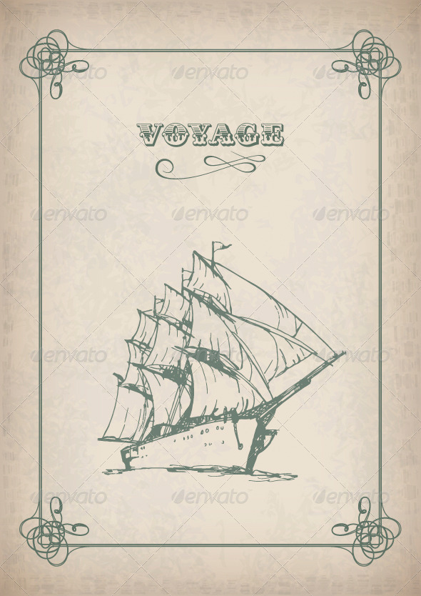 GraphicRiver Vintage Sailboat Retro Border Drawing on Old Paper 4518239
