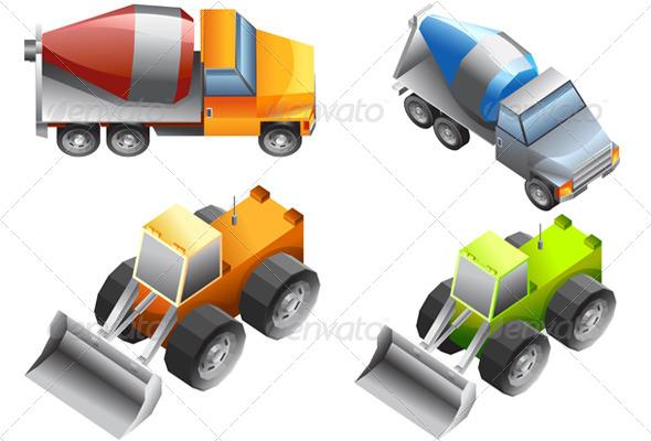 GraphicRiver Isometric of Excavator and Bulldozer 4518878