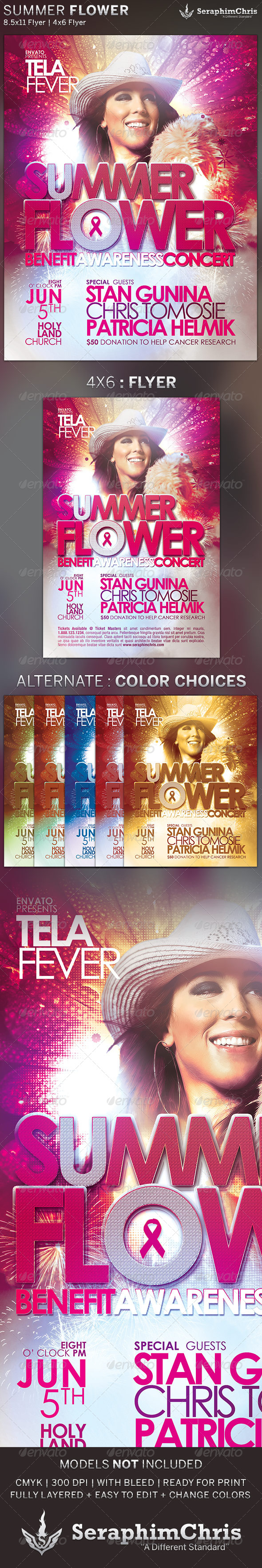 Summer Flower: Church Concert Flyer Template - Concerts Events