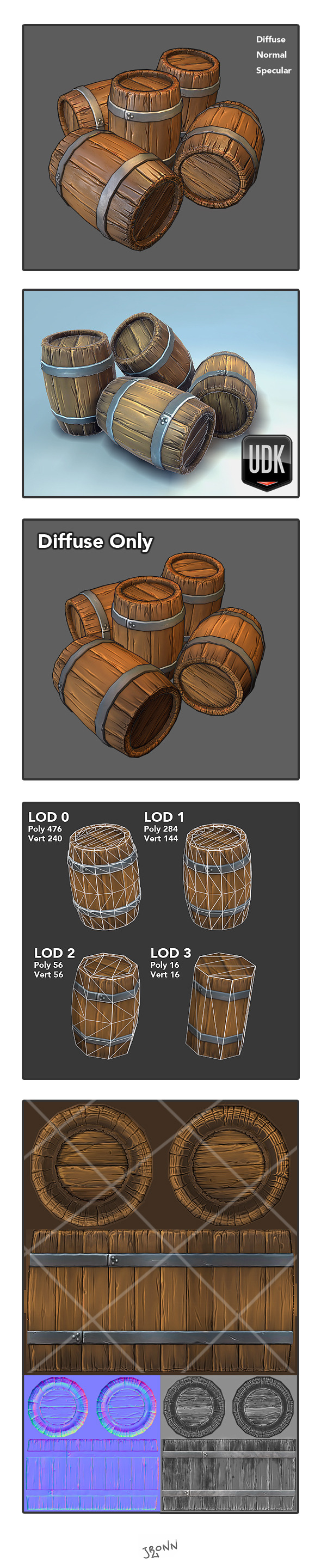 3DOcean Low Poly Wooden Barrel 4519152