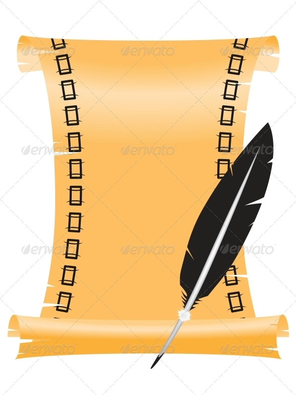 GraphicRiver Ancient Scroll with a Feather 4519285