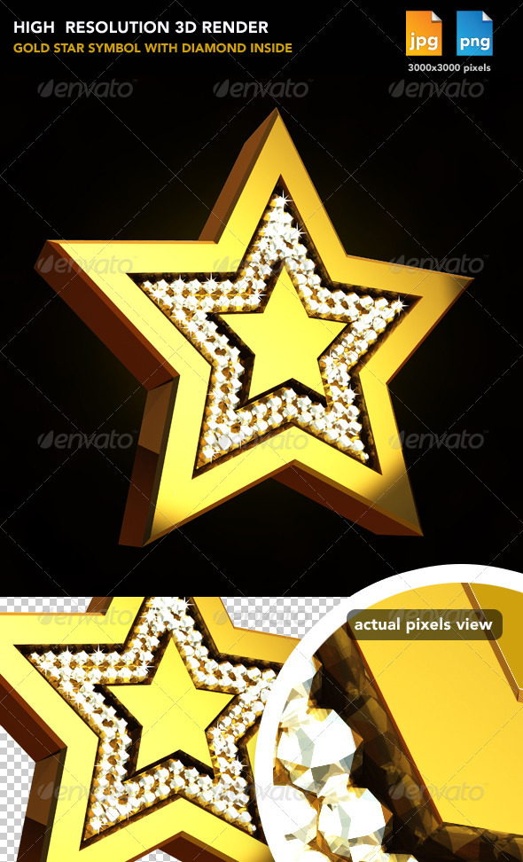 Gold Star - Objects 3D Renders
