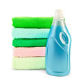 Fabric softener the bottle and a stack of towels - PhotoDune Item for Sale