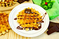 Waffles circle with chocolate and green napkin - PhotoDune Item for Sale