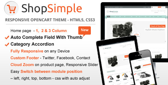 ThemeForest ShopSimple Responsive OpenCart theme 4451462