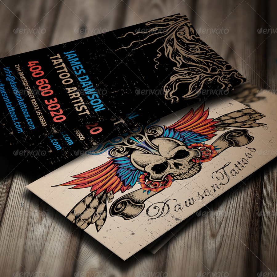 Tattoo Artist Business Card by elenadodevska | GraphicRiver