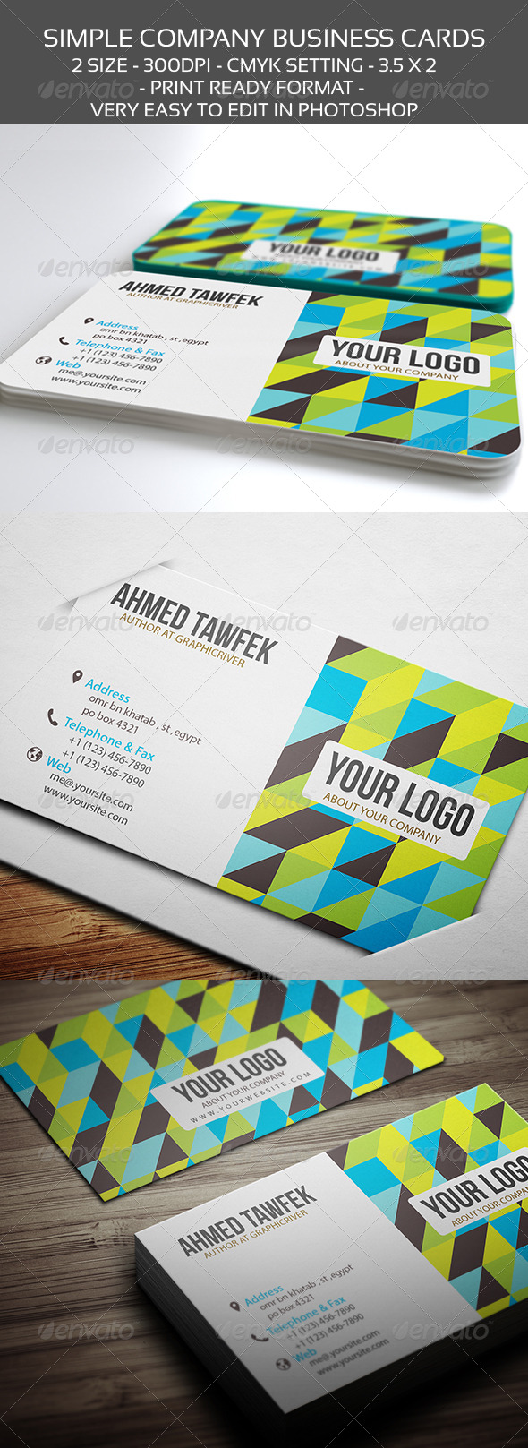 GraphicRiver Simple Company Business Cards 4419389