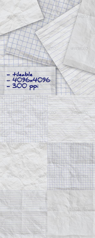 6 Crumpled Notepaper Textures - Paper Textures