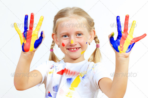happy child with paint on the hands - Stock Photo - Images