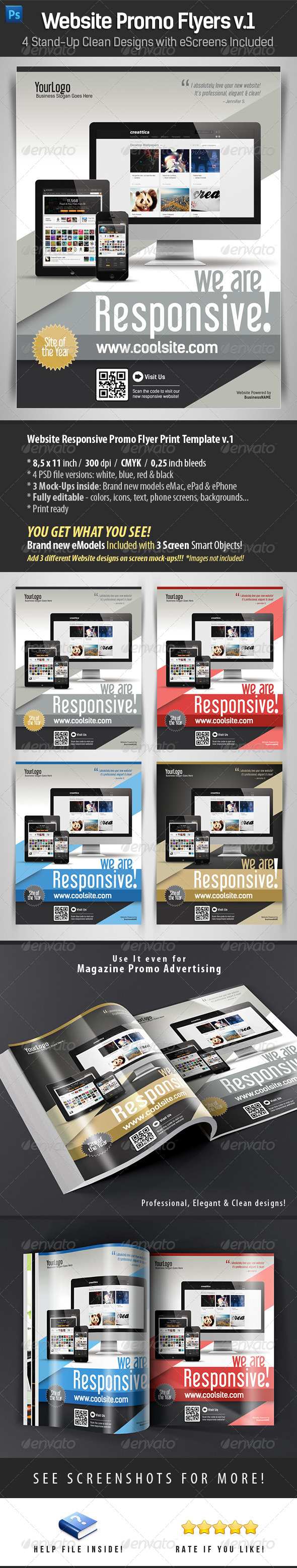 GraphicRiver Website Responsive Promo Flyers Template v.1 4520521