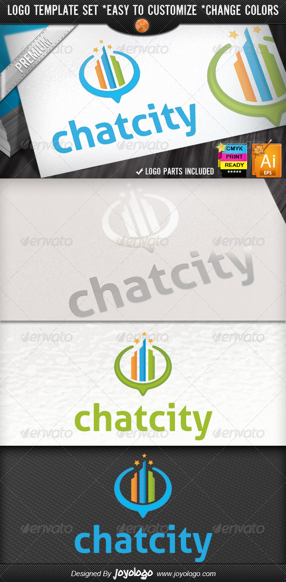 GraphicRiver Mappings Buildings Locator Retro City Chat Logo 4485746