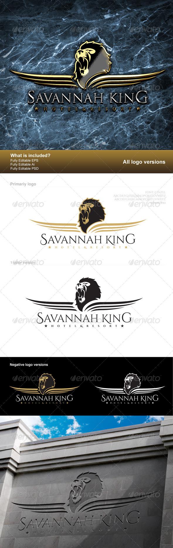 Savannah King Logo - Animals Logo Templates