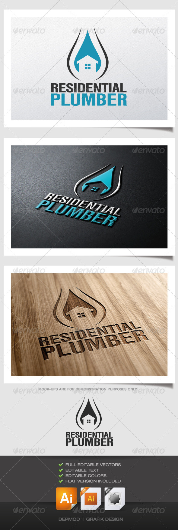 GraphicRiver Residential Plumber Logo 4520854