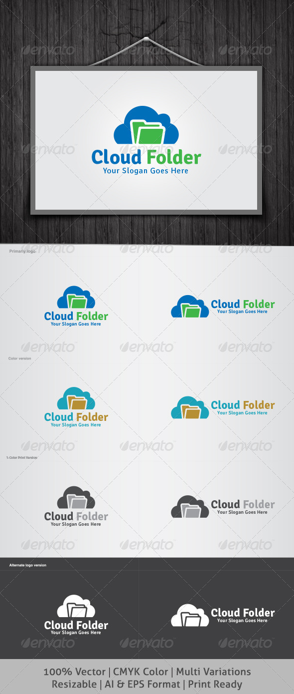 Cloud Folder Logo - Symbols Logo Templates