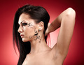 Beautiful brunette with facial tattoo - PhotoDune Item for Sale
