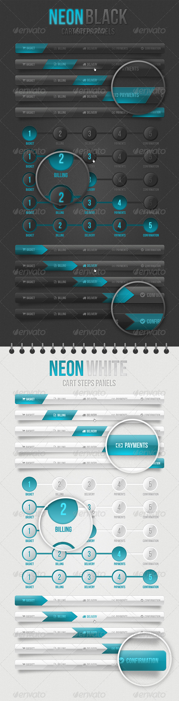 GraphicRiver Neon Cart Step Panels 4467011