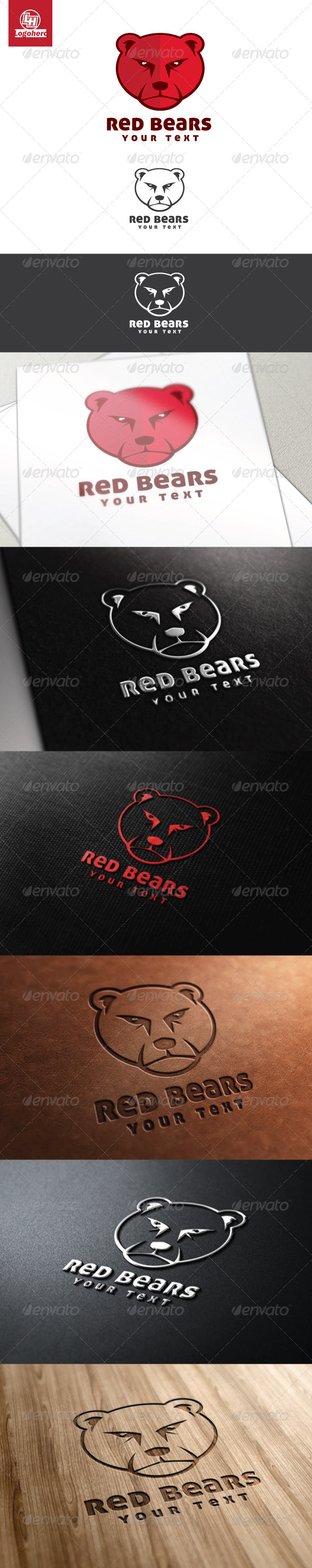 GraphicRiver Red Bears Logo Template 4486514