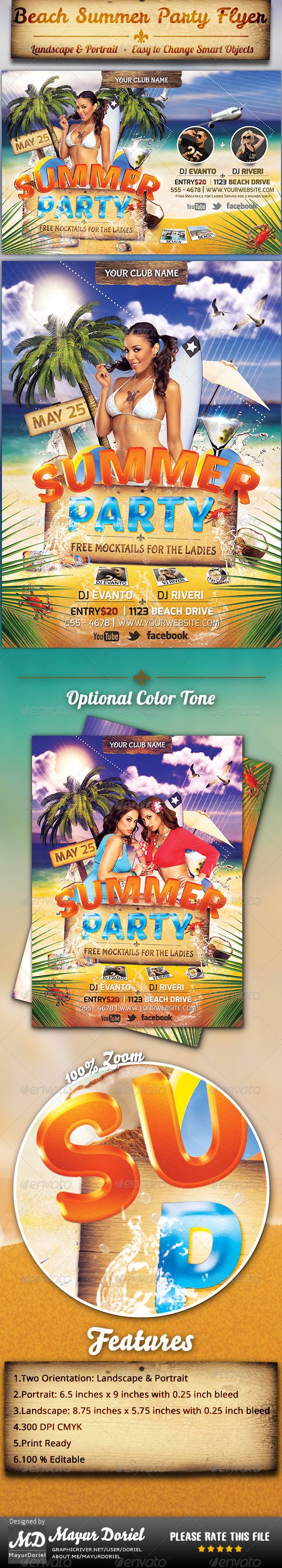 GraphicRiver Beach Summer Party Flyer Template 4366066