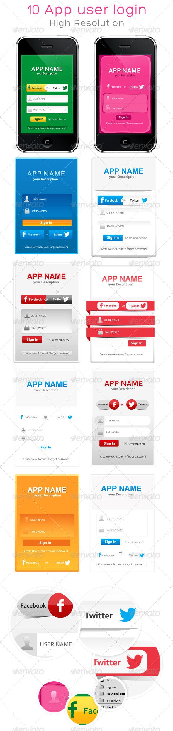 GraphicRiver 10 Application User Login 4473541