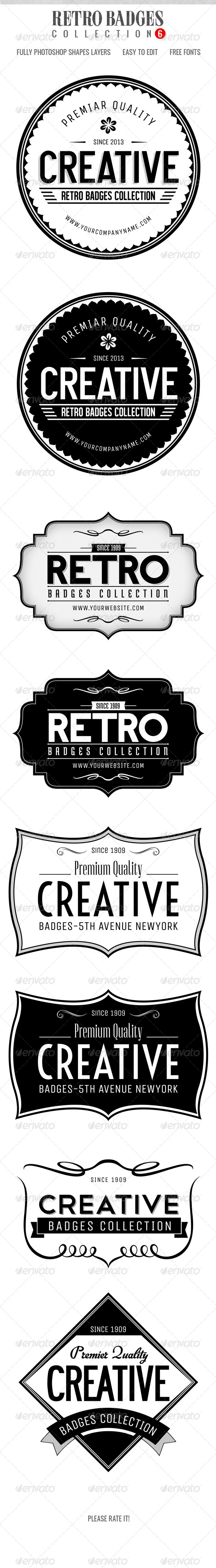 Retro Badges col.6 - Badges & Stickers Web Elements