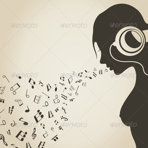 Music the girl2 - Stock Photo - Images