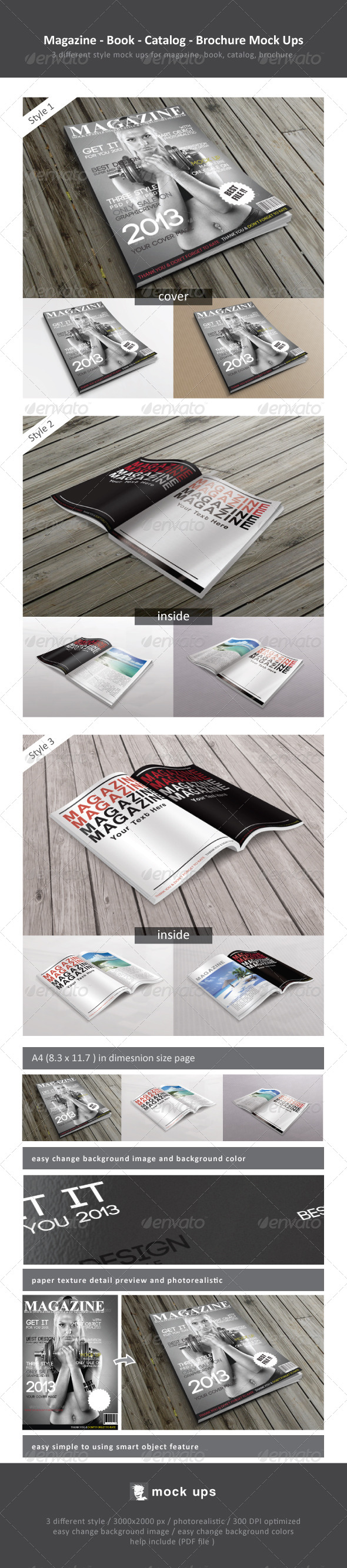 GraphicRiver Magazine Book Catalog Brochure Mock Ups 4524699