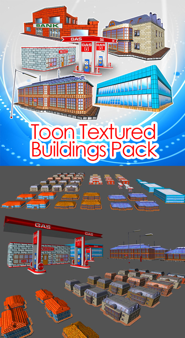 3DOcean Toon Textured Buildings Pack 4524747