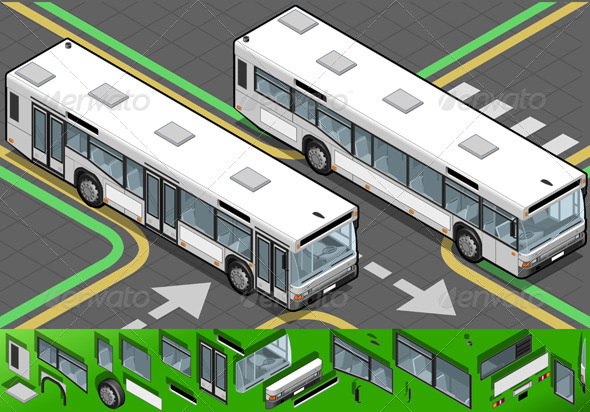 GraphicRiver Isometric Bus in Front View 4524784