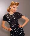 Romance. Styled Woman in Blue Retro Polka Dot Dress. Pin Up Style - PhotoDune Item for Sale
