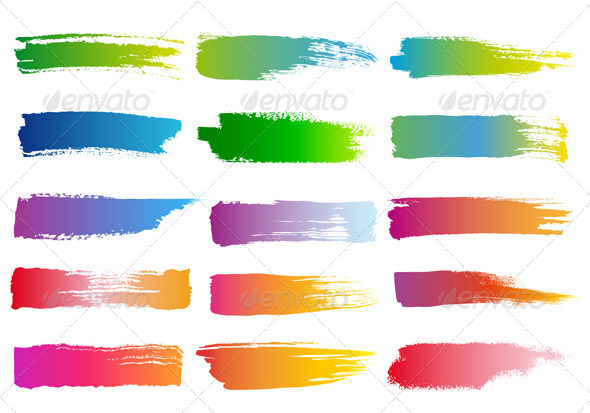 GraphicRiver Watercolor Brush Strokes Vector Set 4526229