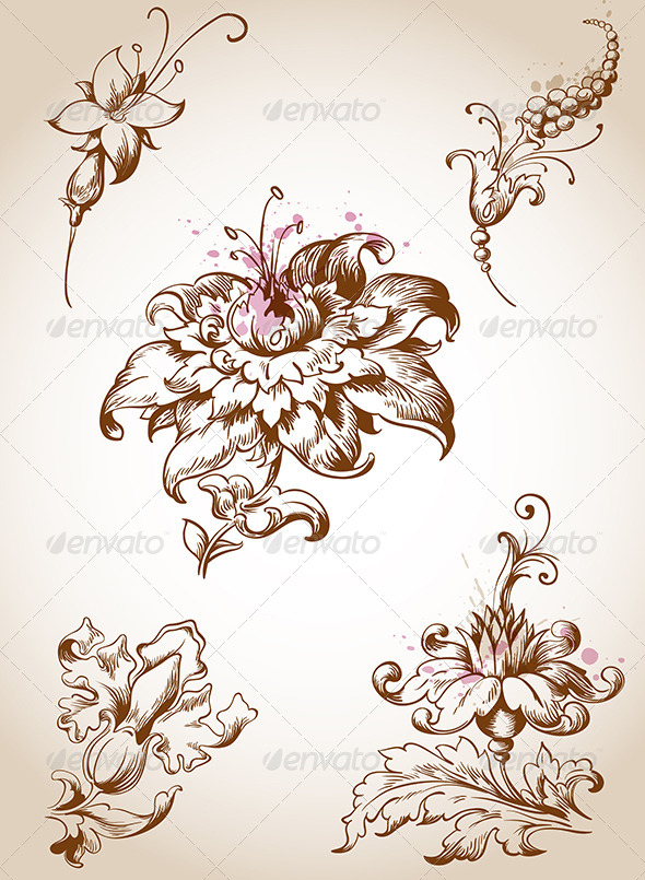 Victorian Flower Drawings Victorian floral elementsVictorian Flower Drawings