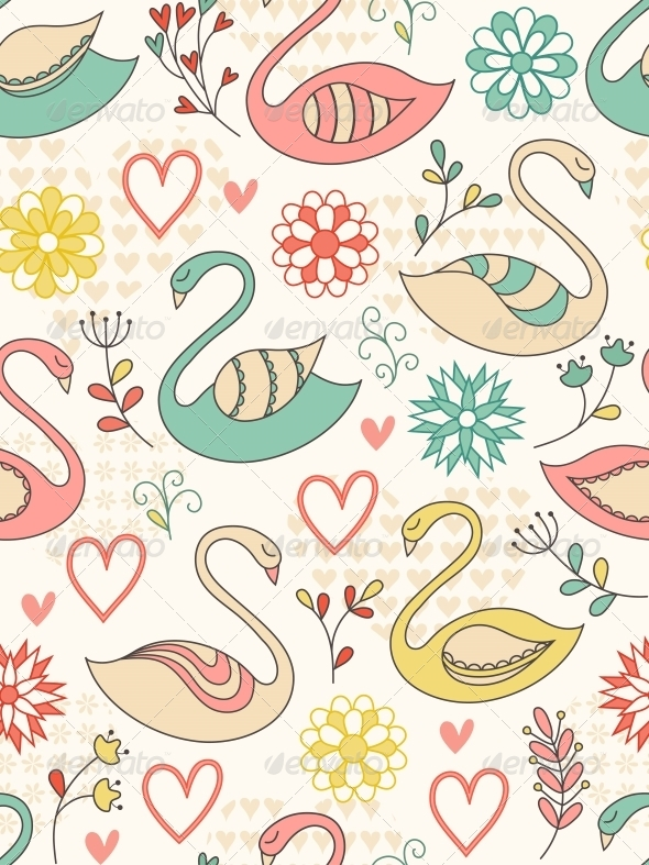 GraphicRiver Pattern with Swans 4526406