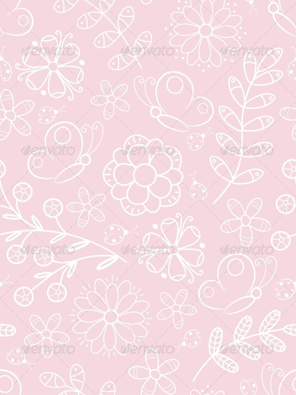 GraphicRiver Pink Floral Seamless 4526408