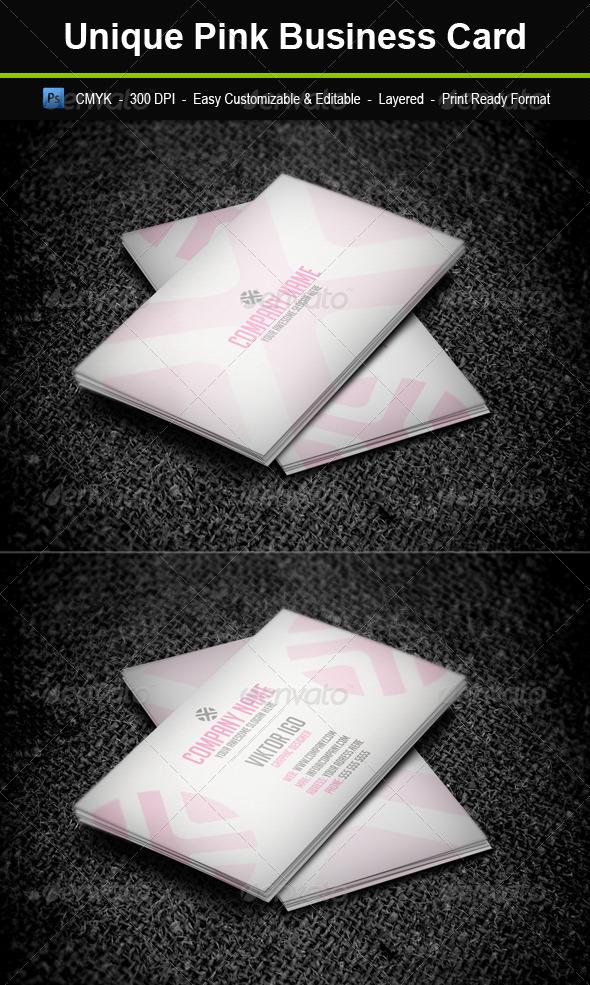 GraphicRiver Unique Pink Business Card 4343296