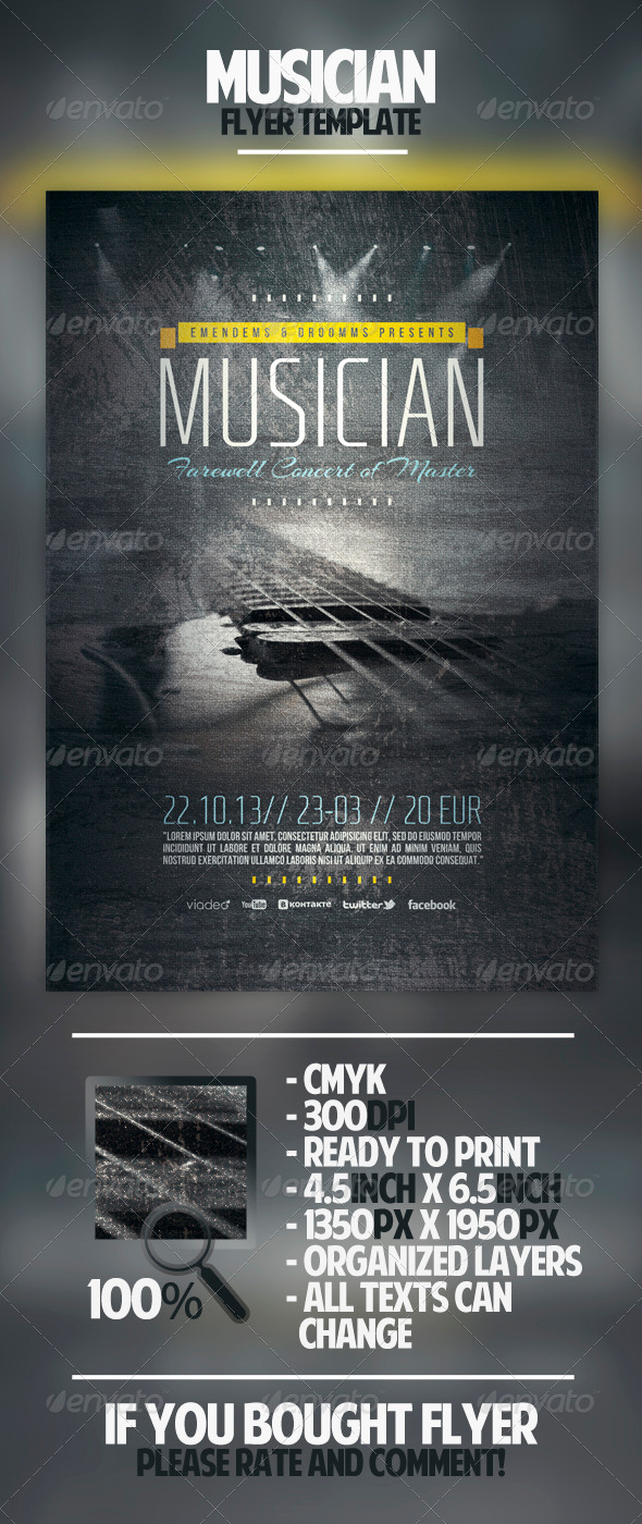 GraphicRiver Musician Flyer Template 4527856