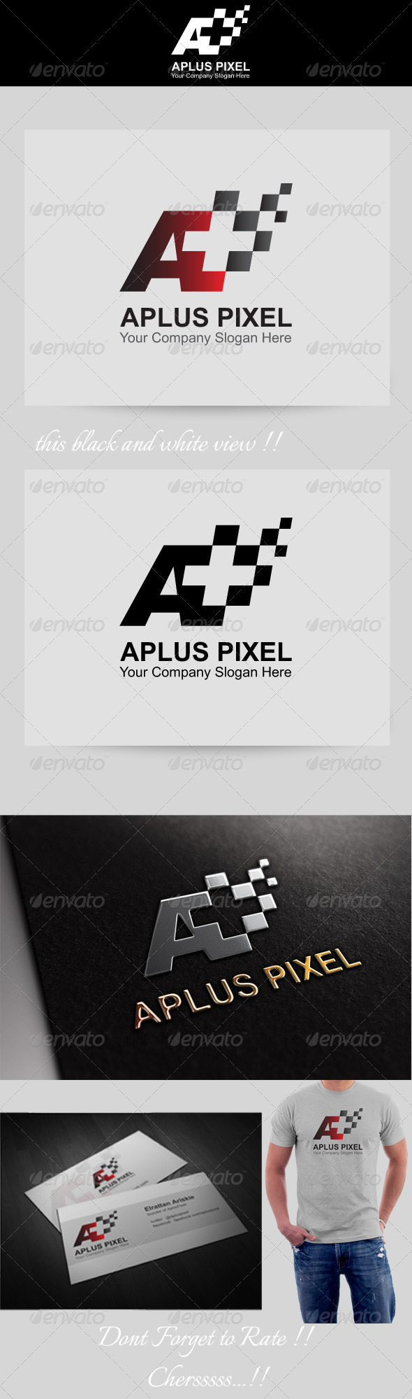 A Plus Pixel / A Plus Race Flag LOGO - Letters Logo Templates