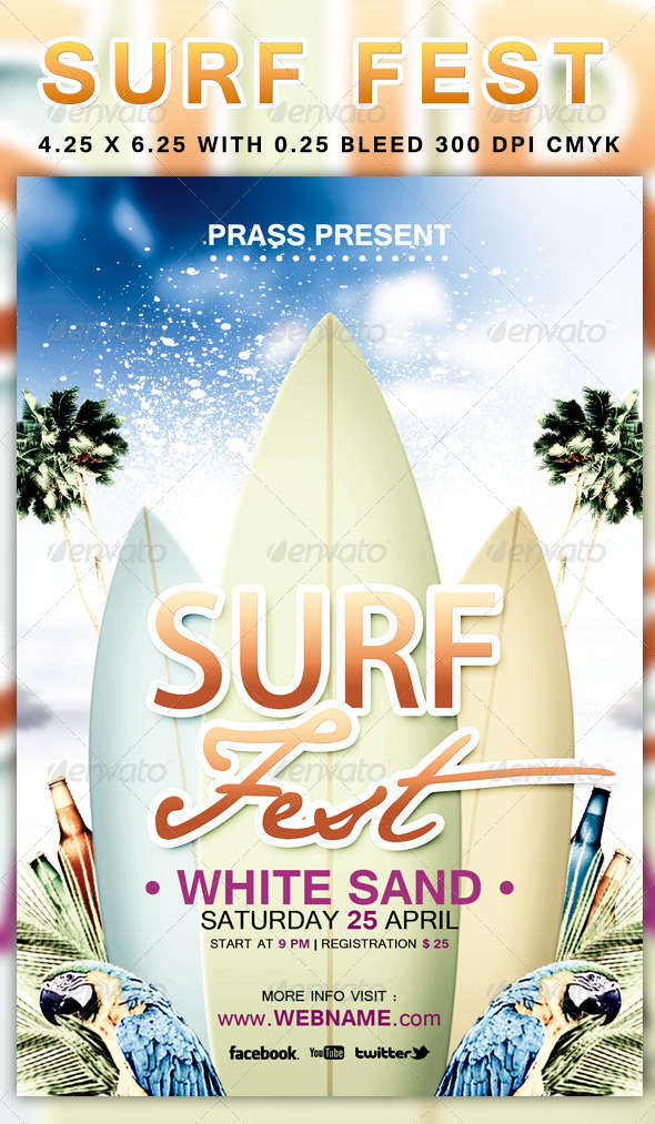 GraphicRiver Surf Fest Flyer Template 4437001