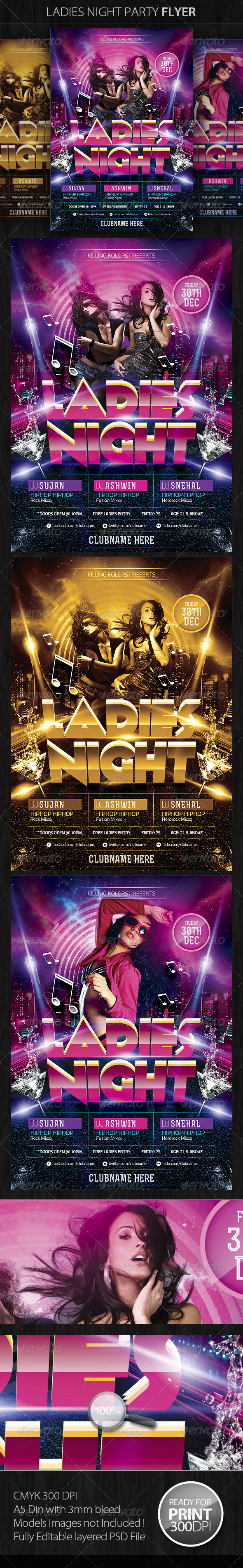 GraphicRiver Ladies Night Party Flyer 4528000