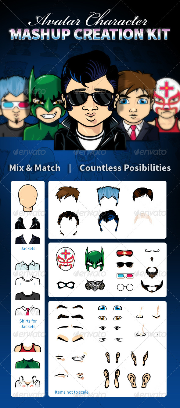 GraphicRiver Avatar Character Mashup Creation Kit 4425948