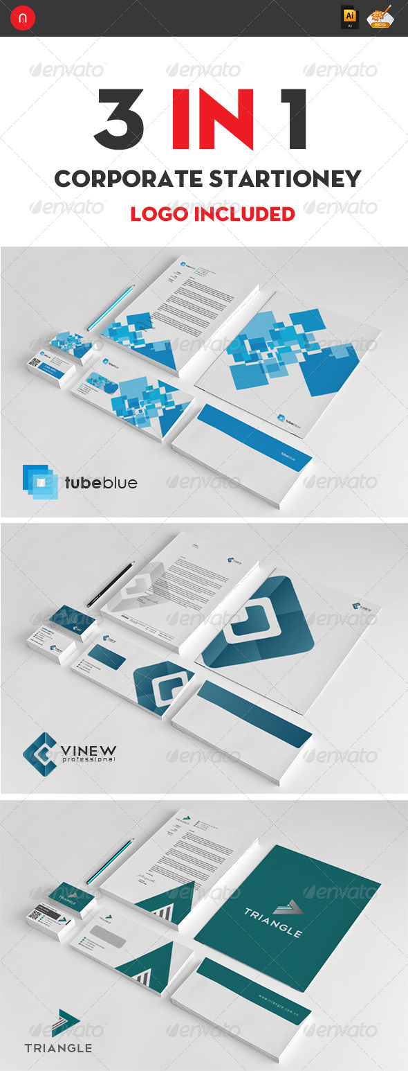 GraphicRiver Corporate Startioney Package 3 in 1 4529103