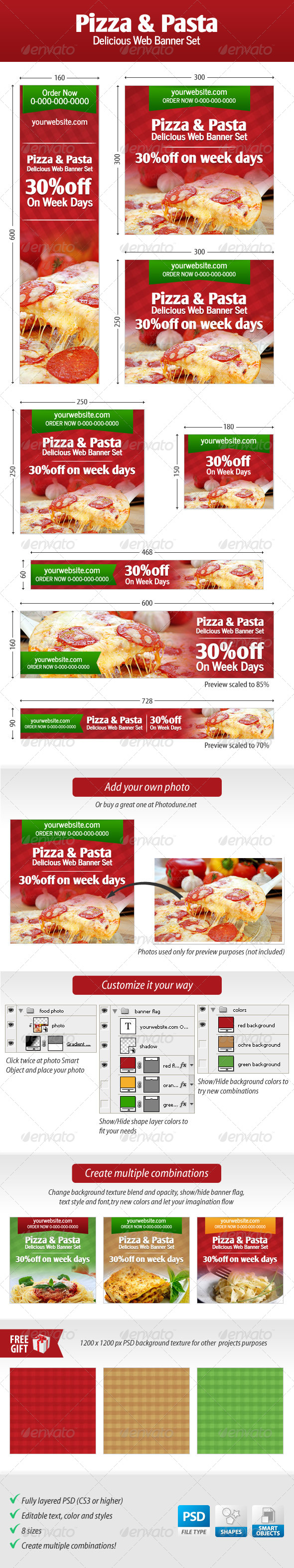 GraphicRiver Pizza and Pasta Web Banner Set 4529248