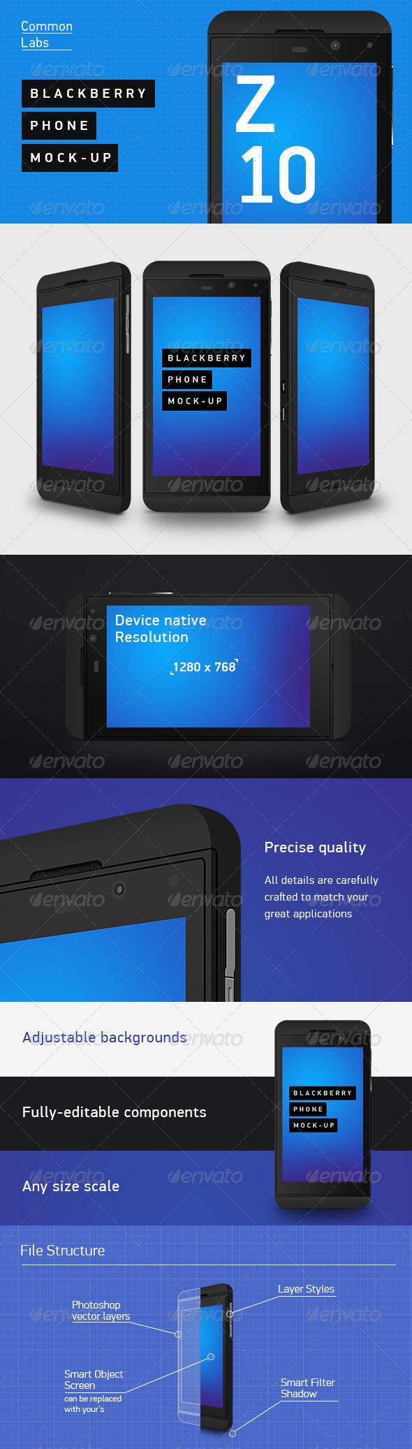 GraphicRiver Blackberry Z10 Phone Mock-Up 4529314